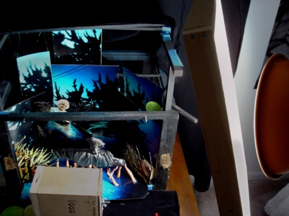 """Camera and light set up with """"Disarmed"""" diorama"""