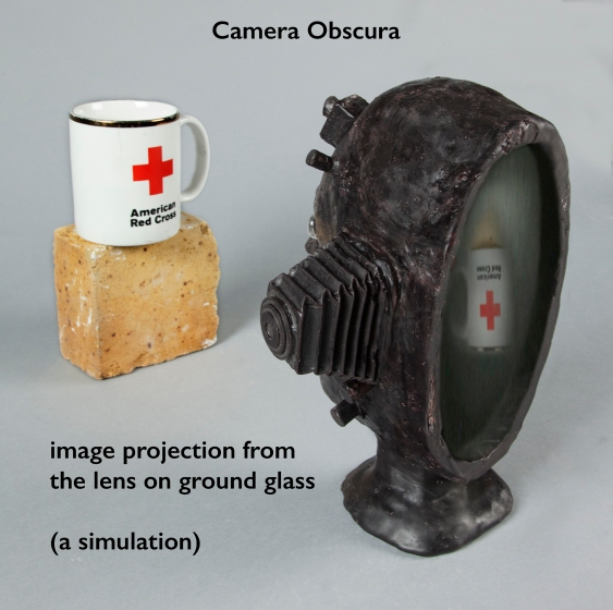 Camera side view with projected image